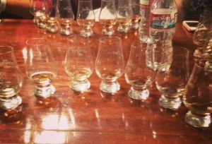 Flight of 9 whisky taster shots